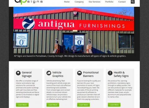 Website Design for AP Signs Portadown