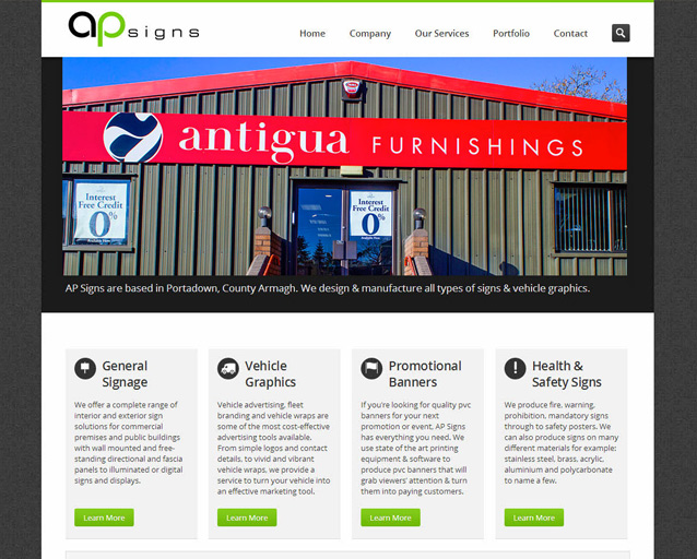 Website Design for AP Signs Portadown