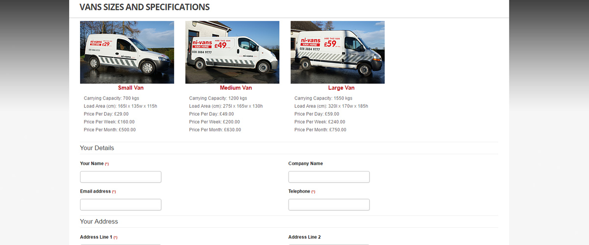 Hire Form - NI Vans Website Design