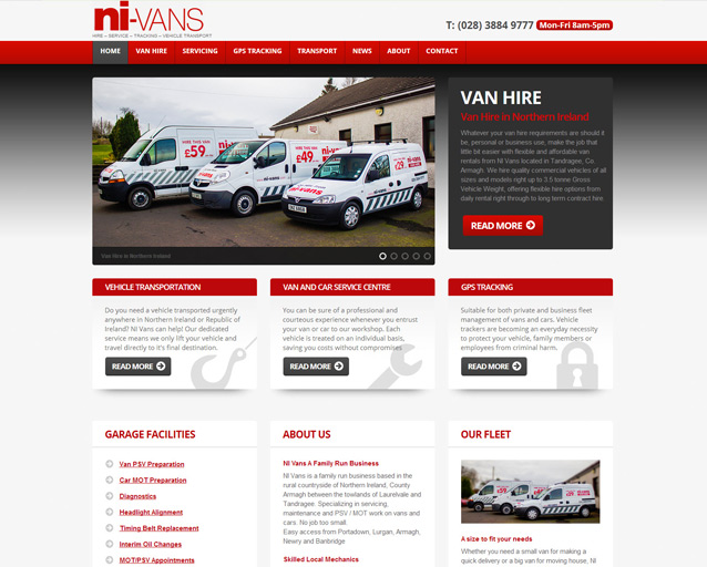 Business Website Design - NI Vans