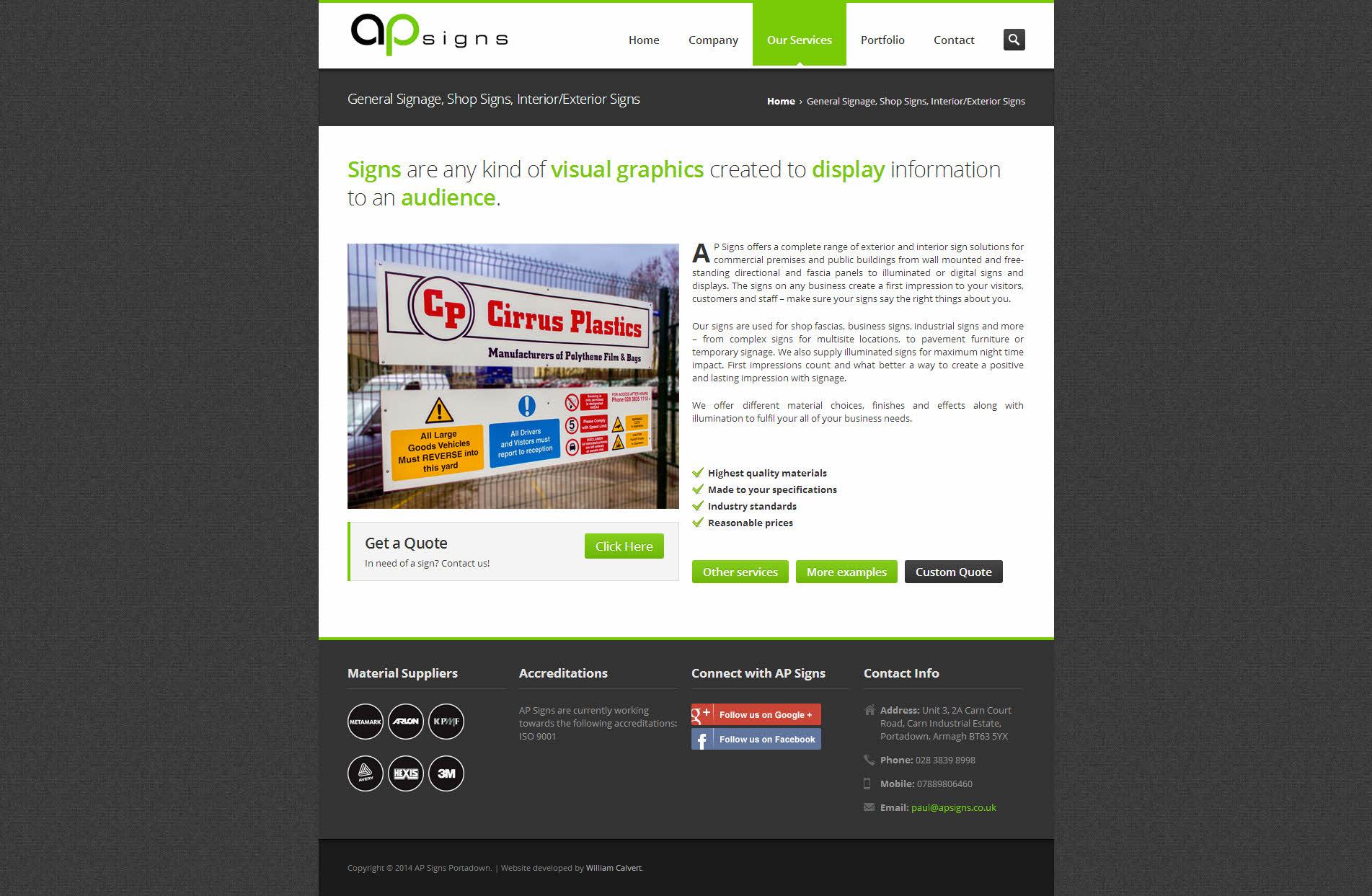 Website Development for AP Signs Portadown