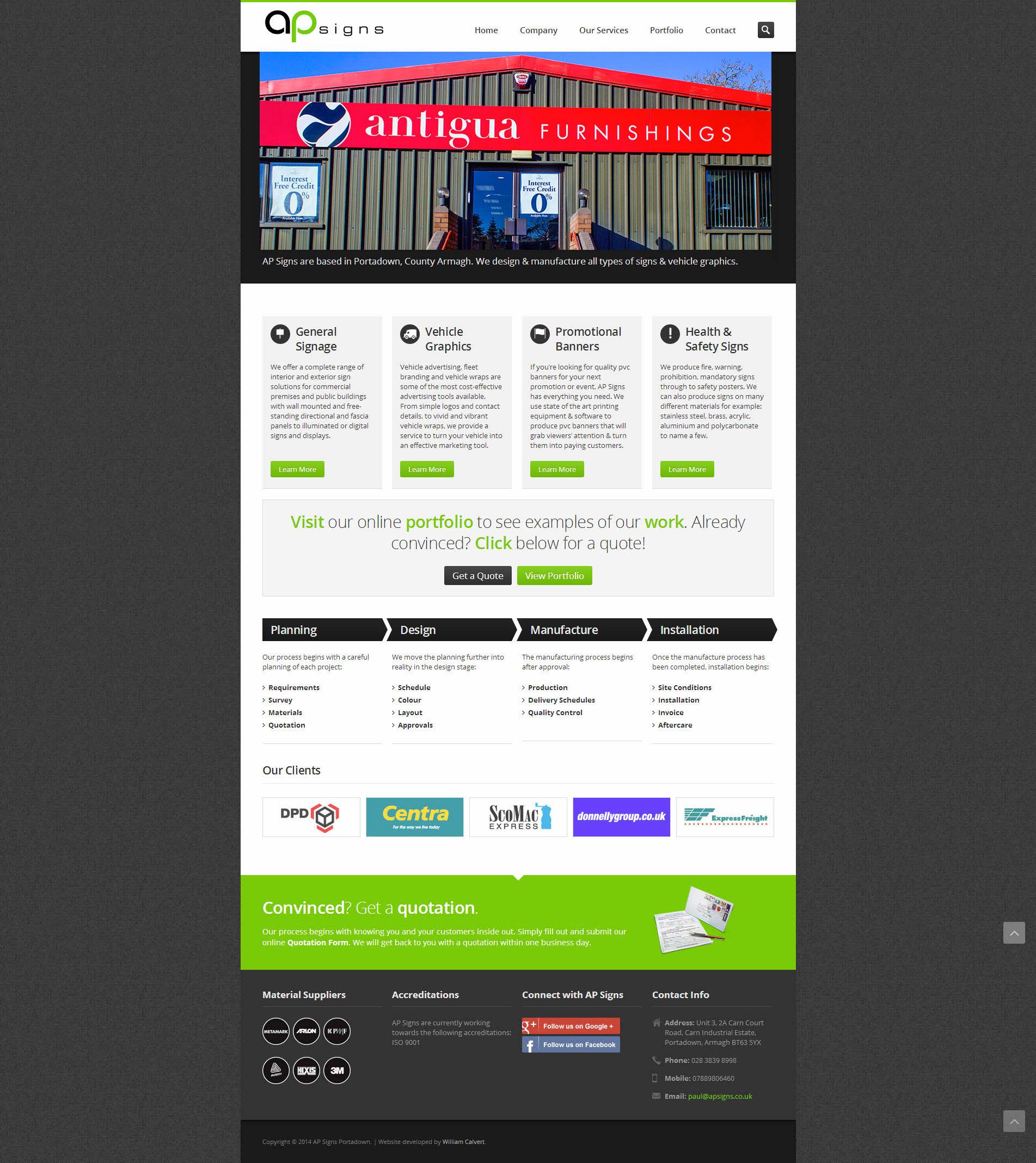 Website Development for AP Signs Portadown - Homepage