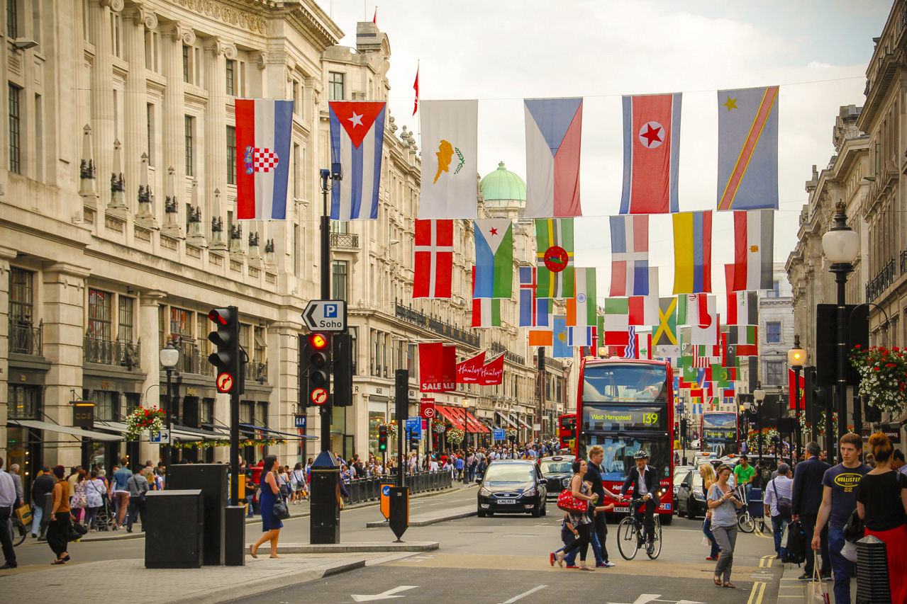 London City Street during Olympic Games 2012