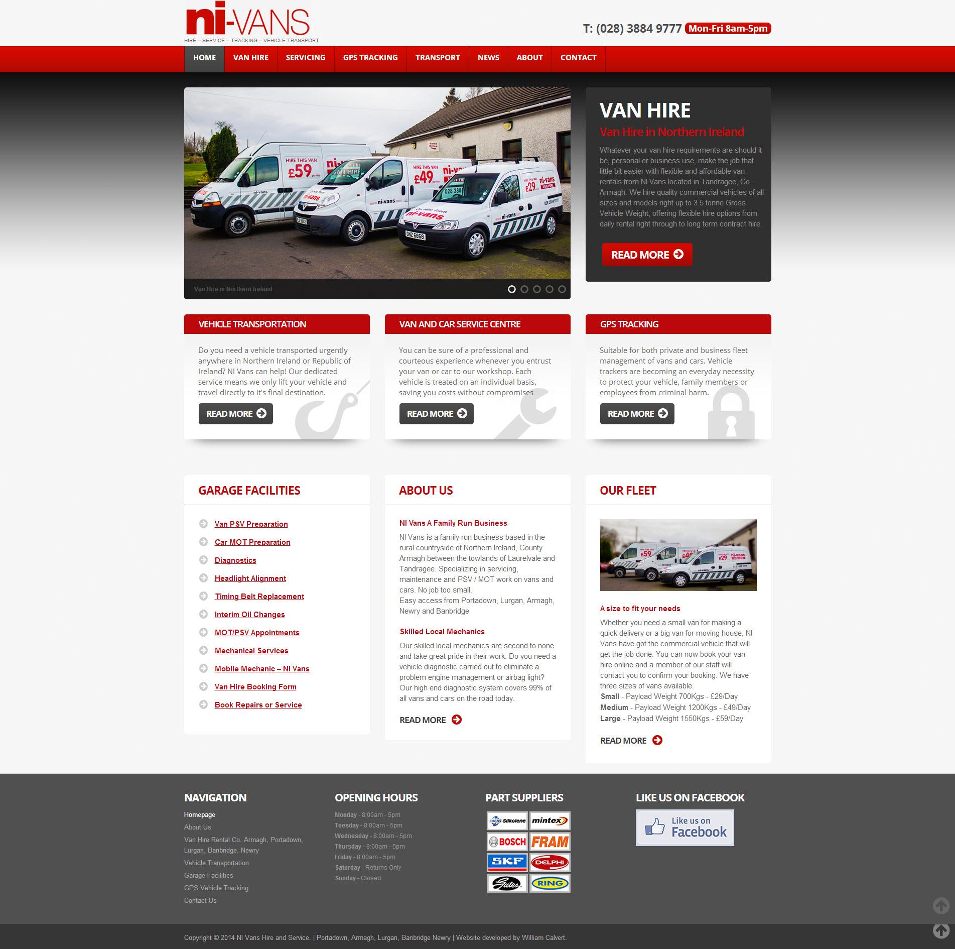 NI Van Hire Website 1