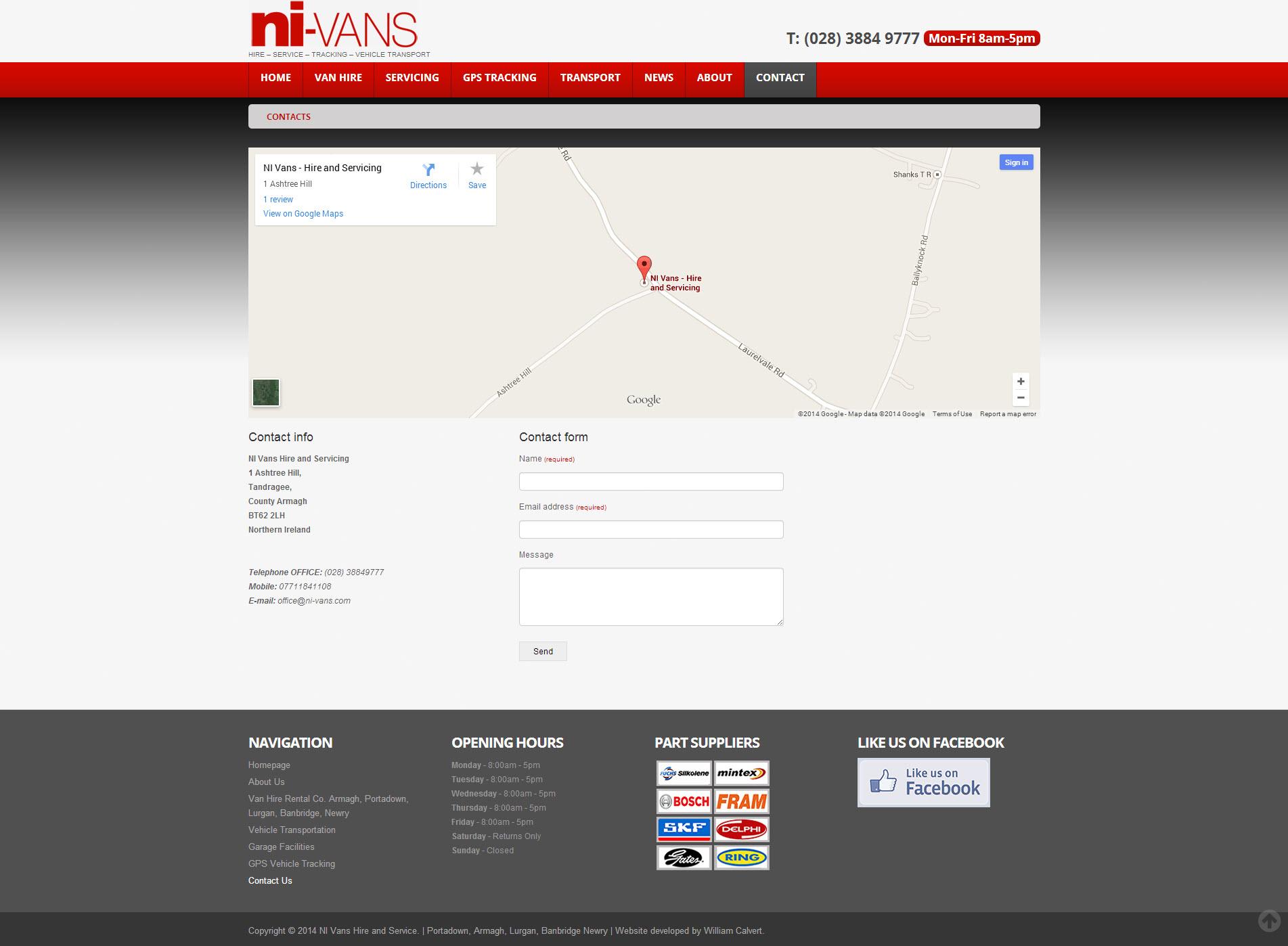 NI Van Hire Website 6 - Contact Page