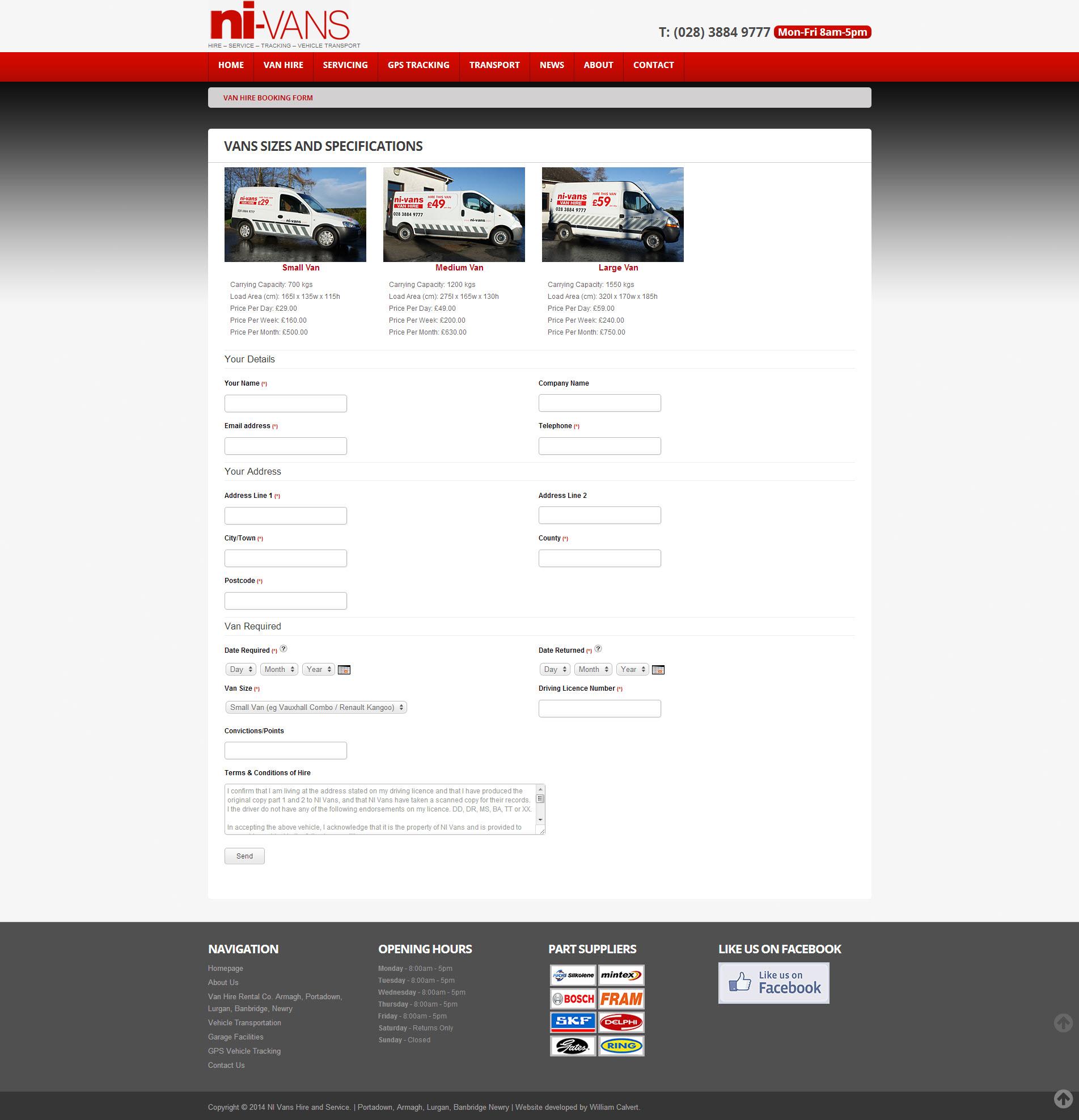 NI Van Hire Website 5 - Booking Form