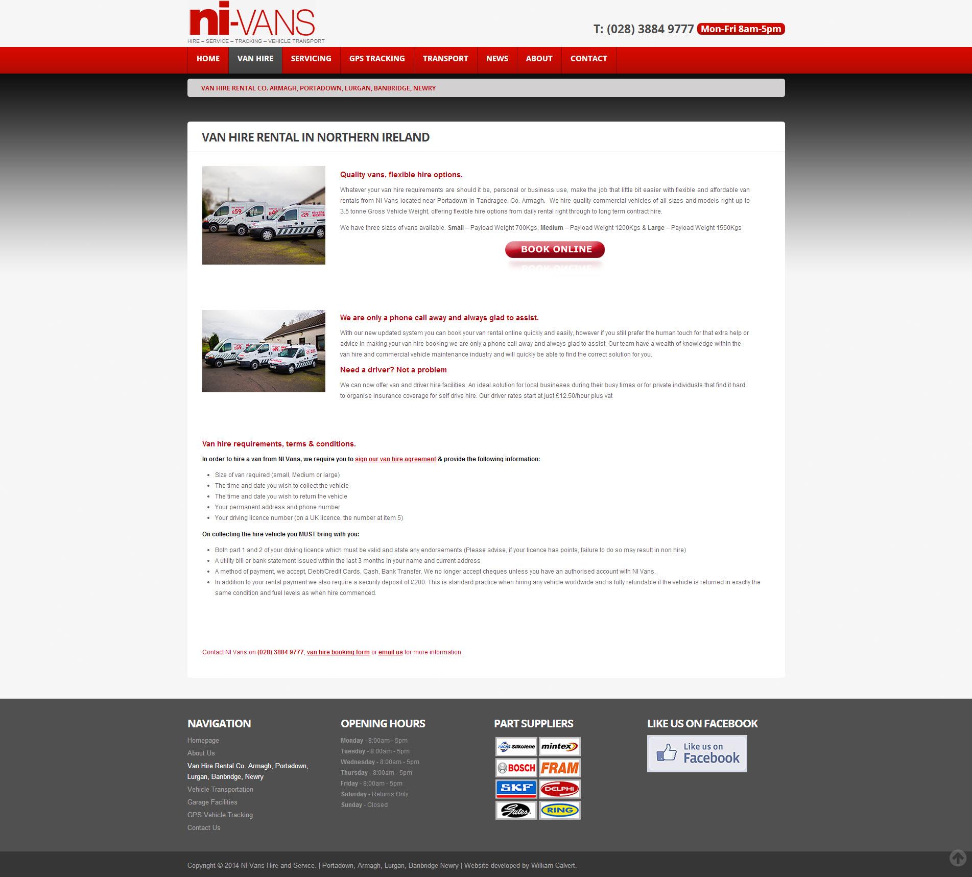 NI Van Hire Website 4