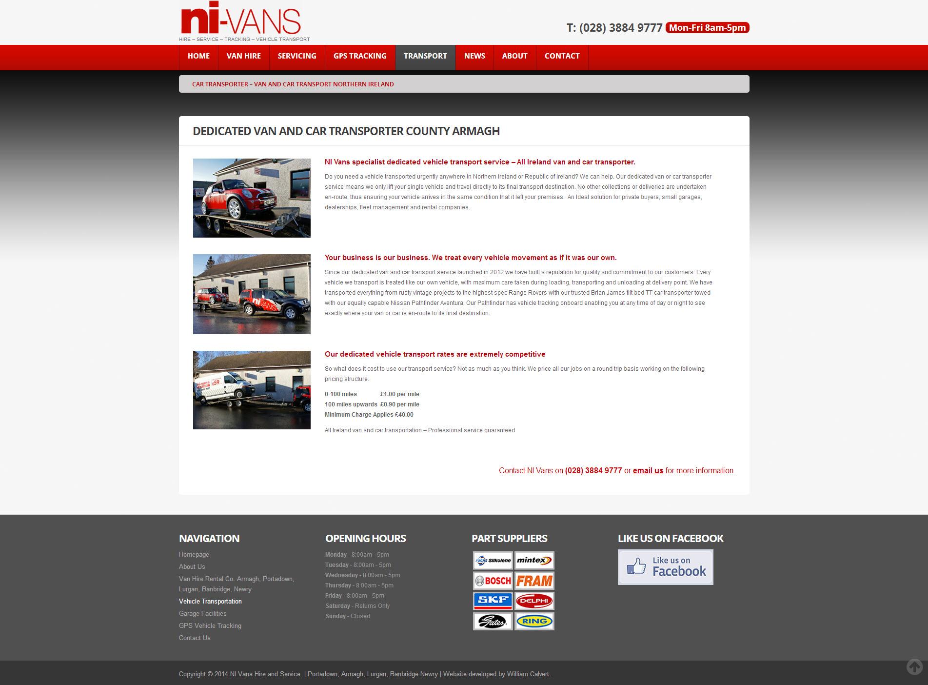 NI Van Hire Website 3