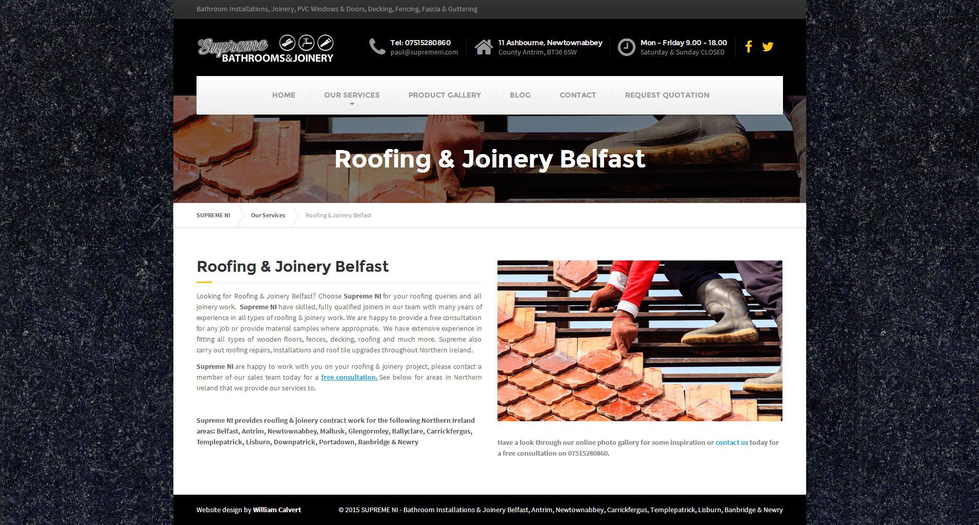 Wordpress website design for Supreme Northern Ireland