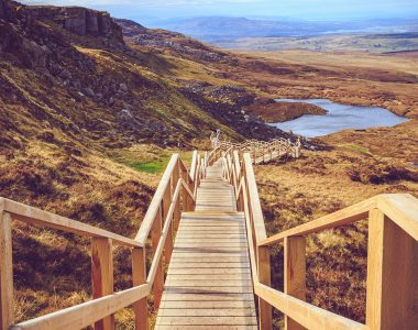 Wooden walkway at Cuilcagh Mountain in Fermanagh, Northern Ireland