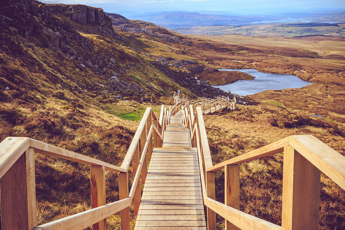 """Wooden walkway """"Stairway to Heaven"""" at Cuilcagh Mountain in Fermanagh, Northern Ireland"""